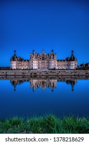 Loire, France - April 14, 2019: The castle of Chambord at night, Castle of the Loire, France. Chateau de Chambord, the largest castle in the Loire Valley. A UNESCO world heritage site in France