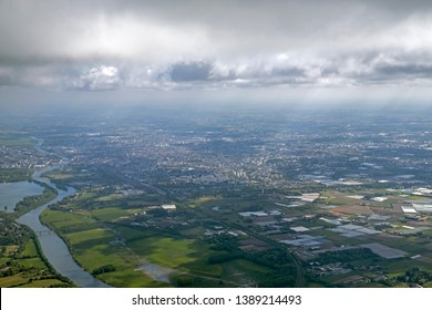 Loire valley close to Angers from aerial view