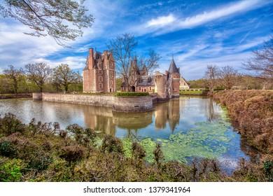 Loire Valley, France - April 15, 2019: Chateau du Moulin in Lassay-sur-Croisne, Loire Valley, France. Romantic castle of Loire valley river.