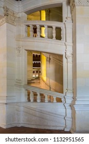 LOIRE VALLEY, FRANCE - June 14, 2018: Double spiral staircase of Chateau de Chambord built in the 16th Century and Located in The Loire Valley of France.