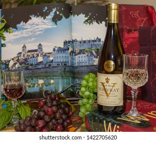 Loire Valley / France - Sept. 19, 2018: Vouvray Wines Front Loire Valley Castle