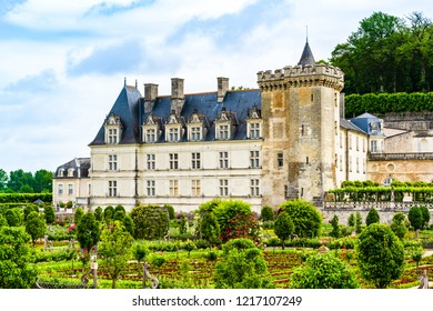 Loire Valley - May 31, 2018: Castle of Villandry on the Loire Valley  in the department of Indre et Loire
