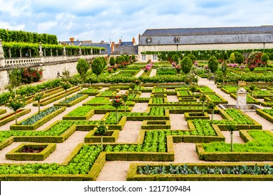 Loire Valley - May 31, 2018: Gardens of the Castle of Villandry on the Loire Valley  in the department of Indre et Loire