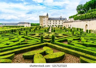 Loire Valley - May 31, 2018: Gardens of the Castle of Villandry on the Loire Valley  in the department of Indre et Loire.