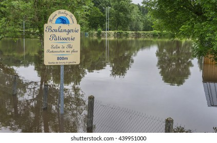 LOIRE VALLEY,FRANCE-CIRCA JUNE 2016: In the flooded countryside