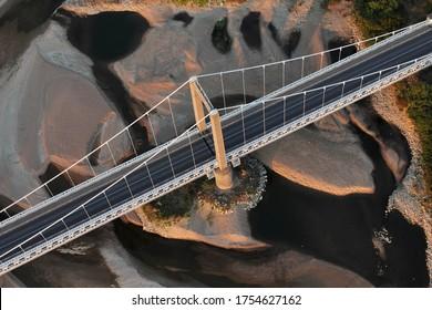 Viaduc de la Loire à Saint-Florent-le-Vieil vu du ciel, département du Maine-et-Loire, Pays de la Loire, France