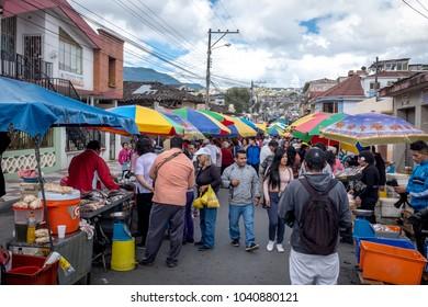 LOJA, ECUADOR, CIRCA January 28 2018.  Sunday fresh food Market in Loja Ecuador Circa Jan 28 2018. Sunday markets are an important part of life in present day ecuador.