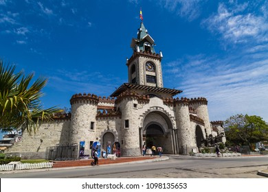 Loja, Ecuador, November 19, 2017: Medieval style castle known as the gateway to the city of Loja