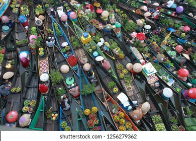 lok baintan village banjar district south kalimantan province Indonesia, December 2, 2018: Traditional Floating Market