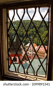 Loket Castle-May 26, 2018: view from above of the city through the loopholes of the tower, Loket Castle