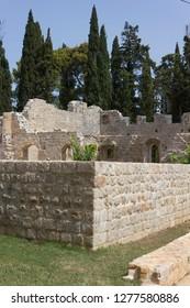LOKRUM, CROATIA - AUGUST 22 2017: ruins of an ancient monastery in Lokrum island, Croatia