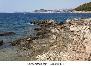 LOKRUM, CROATIA - AUGUST 22 2017: Lokrum island coastline
