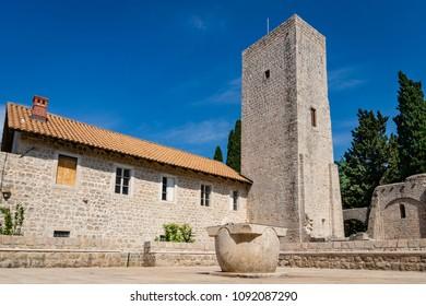Lokrum, Croatia - May 06 2018: The ruins of the Benedictine monastery (Benediktinski samostan) on Lokrum, first built in 1023 CE.