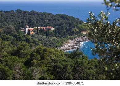 Lokrum Island Monastery Complex panoramic view, Dubrovnik, Croatia. The first of many Benedictine monasteries on the territory of the Dubrovnik Republic. The abbey served also as a hospital.