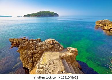 Lokrum island view from Dubrovnik walls beach, Dalmatia region of Croatia