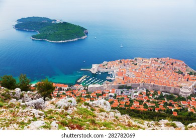 Lokrum Island viewd from the hill of Dubrovnik