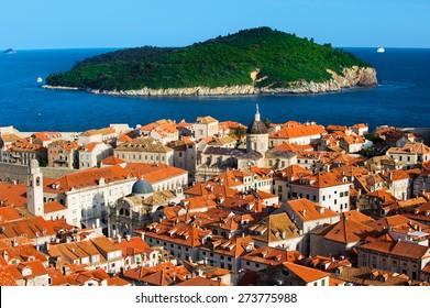 Lokrum island and Walled City view of Dubrovnik, Croatia