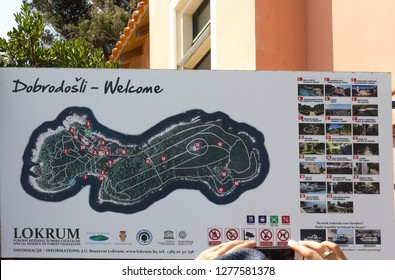 LOKRUM,CROATIA . AUGUST 22 2017: billboard of Lokrum natural area reserve island