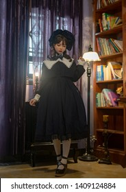 Lolita girl in house, japanese style