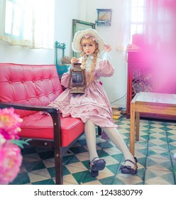 Lolita girl in an old fashion shop, Japanese style