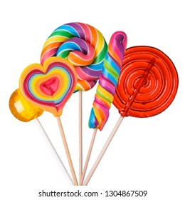 Lollipop candy set. Different sugar candies on sticks assortment isolated on white background.