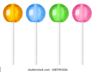 Lollipop different colors recolored isolated on white background