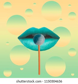 Lollipop on blue female lips.  Contemporary art collage. Concept of memphis style posters. Abstract surrealism and minimalism