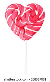 lollipop in the shape of a heart isolated on white background