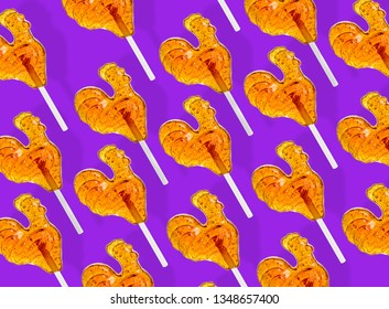 Lollipop. Traditional cock Lollipop on colored bright backgrounds. Russian cock Lollipop.