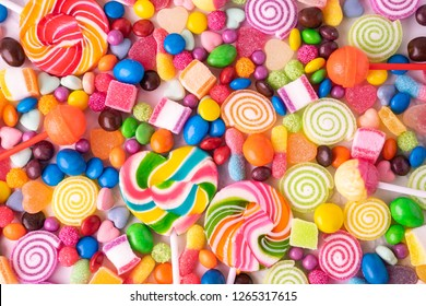 Lollipops candies and sweet sugar jelly multicolored, Colorful sweets Top view and Close up background.