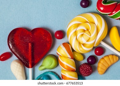lollipops hearts on sticks with sweets