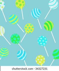 lollipops in multi colors on blue background
