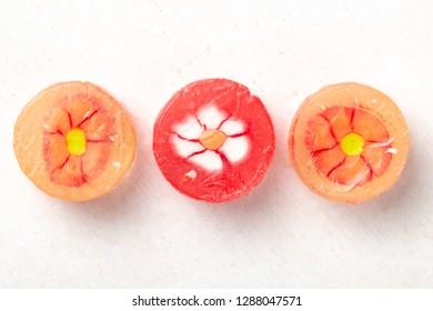Lollipops on white background
