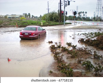LOMA LINDA, CA - DECEMBER 22: Storm damage caused by excessive rain from Pacific storms on December 22, 2010 in Loma Linda, California.