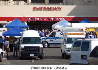 LOMA LINDA, CA - OCTOBER 18: Hospital staff and HAZMAT personnel evacuate patients from Loma Linda University Medical Center's ER after noxious fumes entered the ventilation system October 18, 2012.