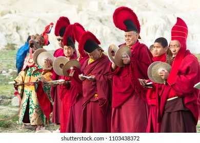 LO-MANTHANG, NEPAL - MAY 14, 2018 : Unidentified monk in mask perform a religious masked mystery dance of Tibetan Buddhism during the Tiji festival in monastery at Lo-Manthang, Nepal.