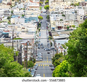 Lombard street with green trees in San Francisco