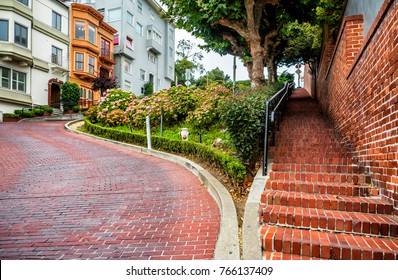Lombard Street, known as crooked street on the August 17th, 2017 - San Francisco, California, CA, USA