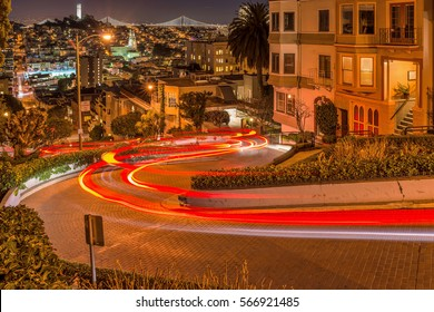 Lombard Street at Night - A night view of Lombard Street, the steepest and crookedest street, in Russian Hill neighborhood of San Francisco, California, USA.
