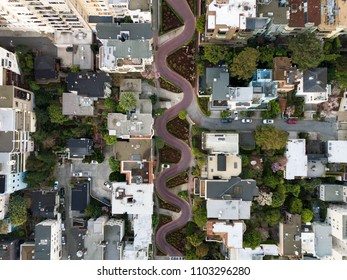 Lombard Street, San Francisco. Aerial view of the crooked street.