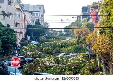 Lombard street in San Francisco. California, USA, November 2018