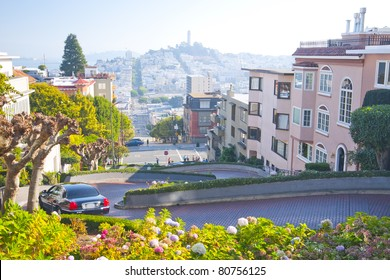 Lombard Street in San Francisco, California, USA