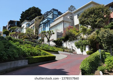 Lombard Street in San Francisco city, California.