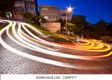 Lombard street in San Francisco at night