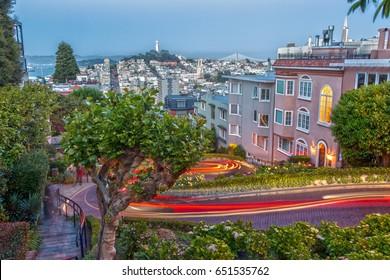 Lombard Street in San Francisco at Night as Long Exposure