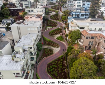 Lombard street in San Francisco. Tourist attraction.