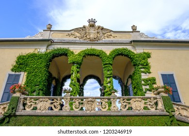 LOMBARDY, ITALY - AUGUST 02, 2018: Villa Balbianello building with green ornaments on balcony
