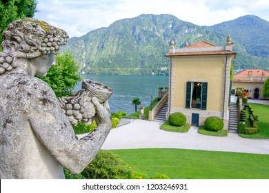 LOMBARDY, ITALY - AUGUST 02, 2018: Villa Balbianello with statue in the garden
