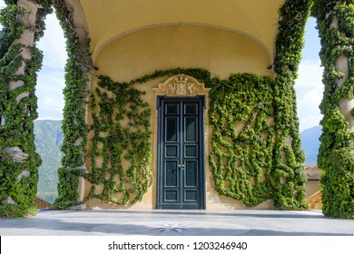 LOMBARDY, ITALY - AUGUST 02, 2018: Villa Balbianello building with green ornaments