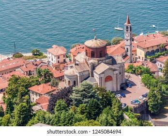 Lombardy, Italy, July 7, 2012: Aerial view of Chiesa di Sant'Ambrogio, and Chiesa Prepositurale dei Santi Filippo e Giacomo in Laveno,